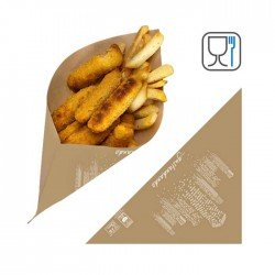 Paper cone for chips and street food cm 22x22 - 1200pcs with logo...
