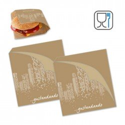 Anti grease paper bags for sandwich cm16x18 1000pcs with logo 'Gustandando'