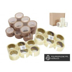 Adhesive packaging tape PPL acrylic 48mm x 66mt Brown and Transparent