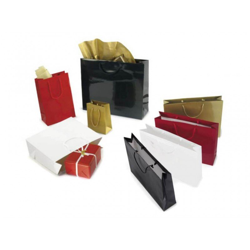 Gloss paper bags with rope handle and reinforced bottom white