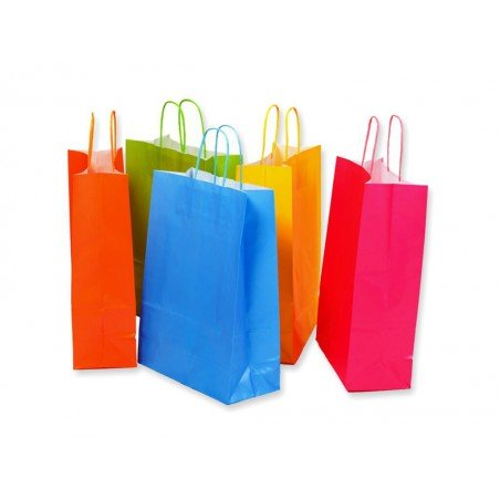 Colored paper bags with twisted rope handle grey, red, black