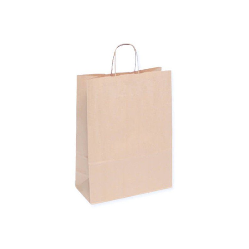 Paper bags white and brown with twisted rope handle white