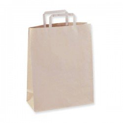 Paper bag white and brown with flat handle white, havana