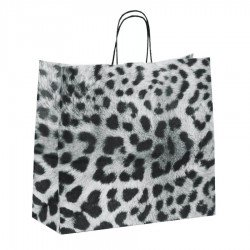 Paper bags spotted design with twisted rope handle white