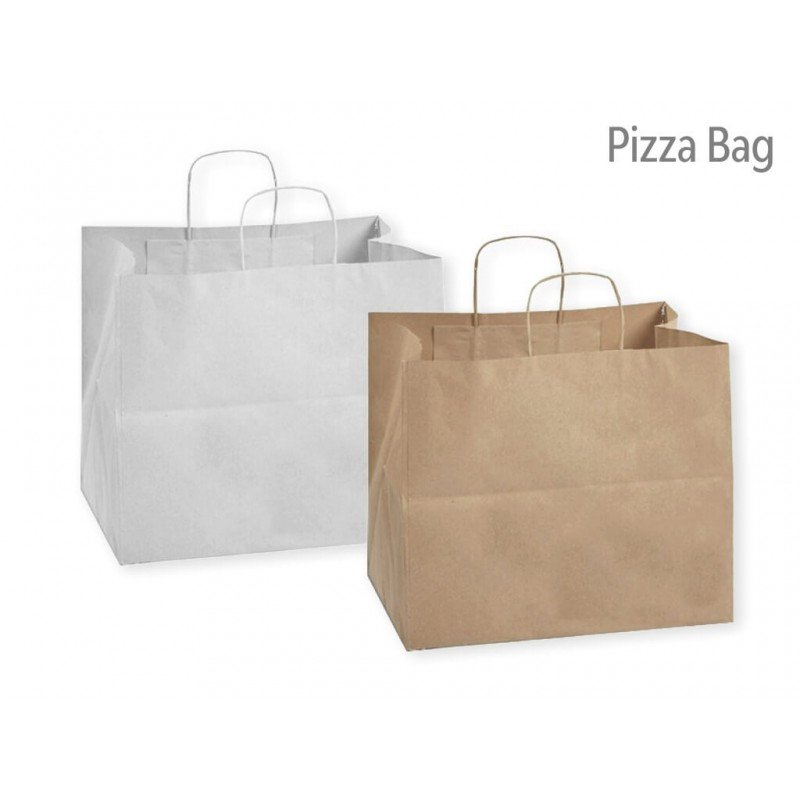 Paper bag for carrying pizza reinforced on the bottom white