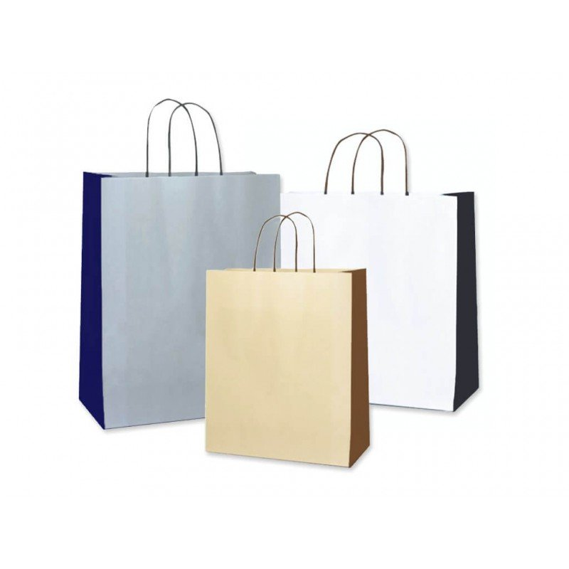 Paper bags bicoloured white and black, cream and brown, gray